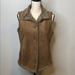 L.L. Bean faux fur brown vest - small